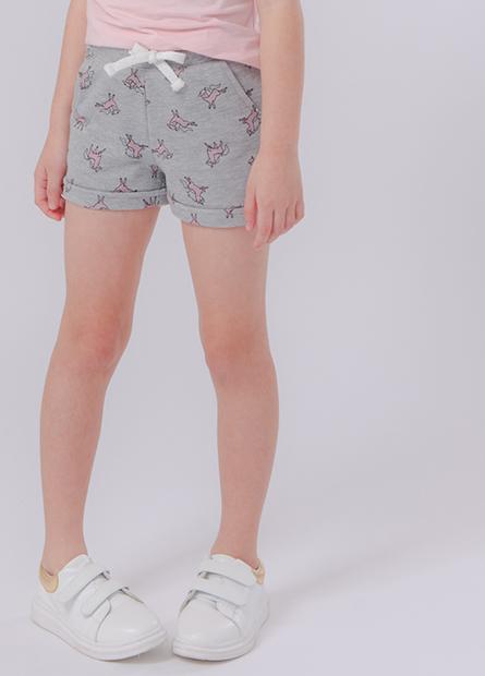 女童印花字母毛圈短褲