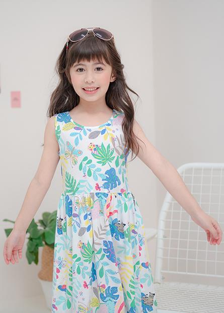 女童印花中腰洋裝