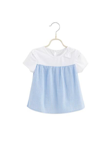 女嬰拼接蝴蝶結上衣