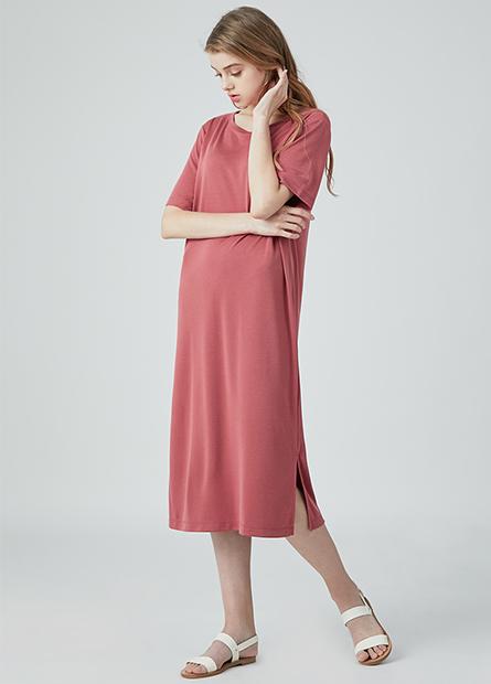 圓領短袖直筒長洋裝