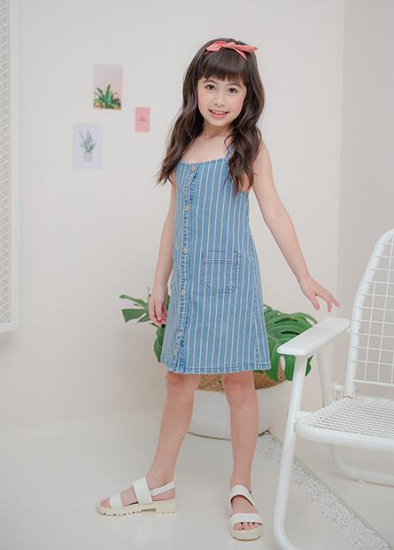 女童條紋細肩牛仔洋裝