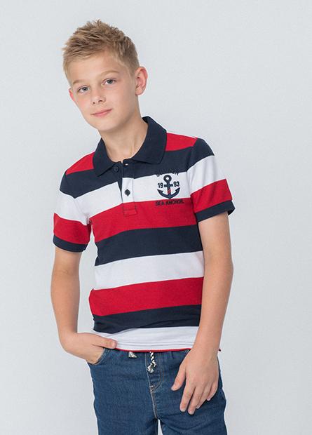 男童條紋繡船錨POLO衫