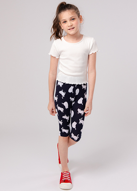 女童印花七分內搭褲