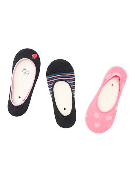 女條紋印花隱形襪(三入)