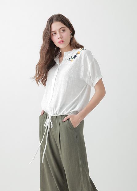 繡花下襬抽繩短袖襯衫