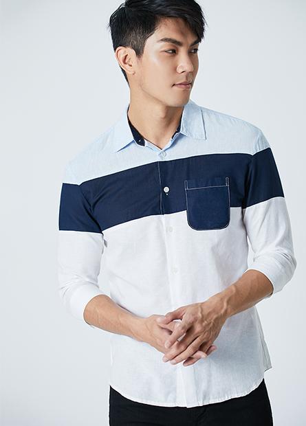 棉麻拼接七分袖襯衫