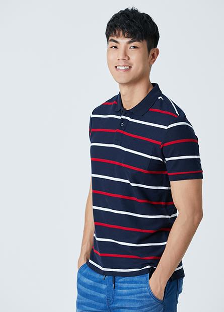 細條繡花口袋POLO衫