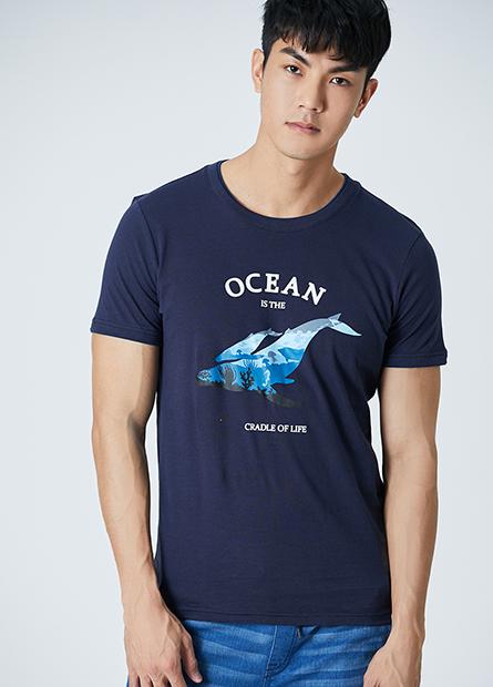 鯨魚文字圓領T