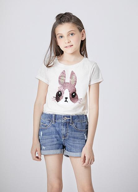 女童兔子雙面亮片T