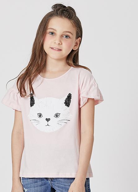 女童貓咪頭荷葉袖T