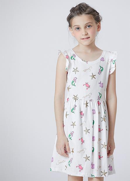 女童荷葉袖中腰洋裝