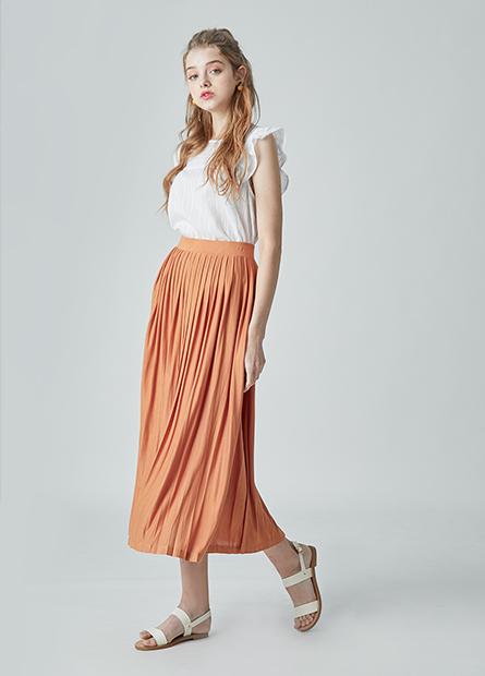 素色壓摺長裙