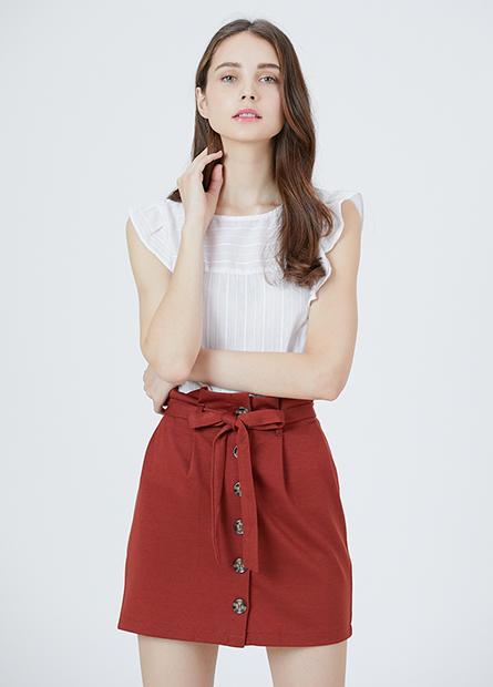 排釦腰綁帶短裙