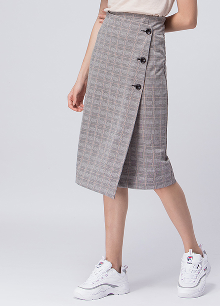 格紋側釦長裙