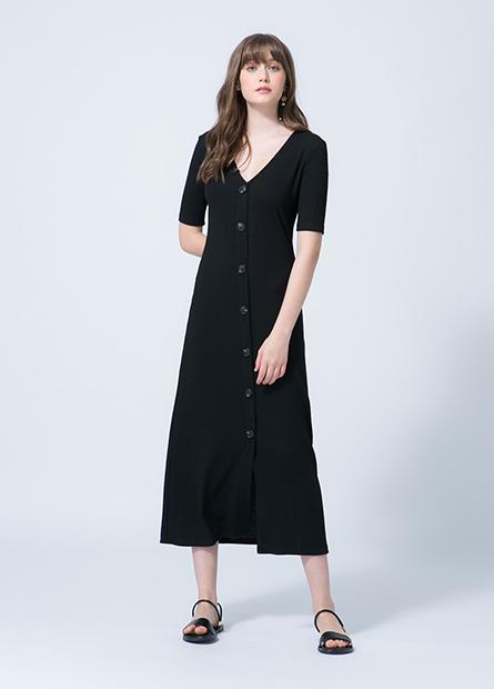V領排釦洋裝