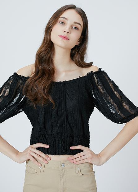 蕾絲澎袖縮口短版上衣