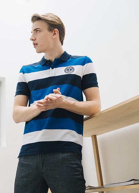條紋繡章POLO衫