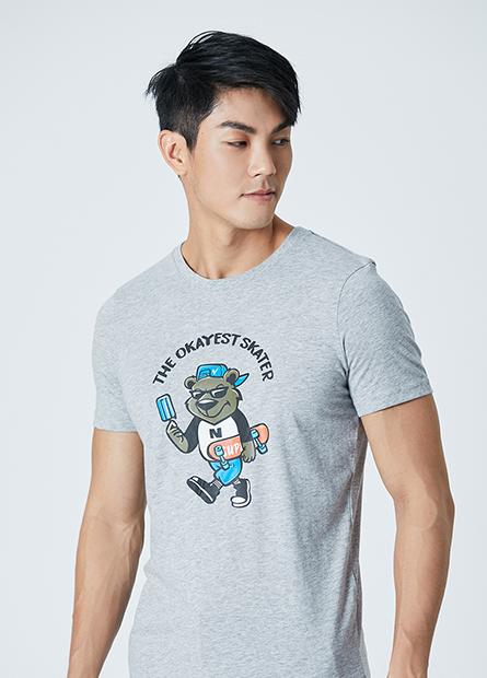 卡通滑板熊插畫T