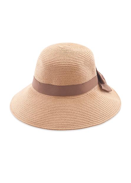 寬蝴蝶結紙辮遮陽帽