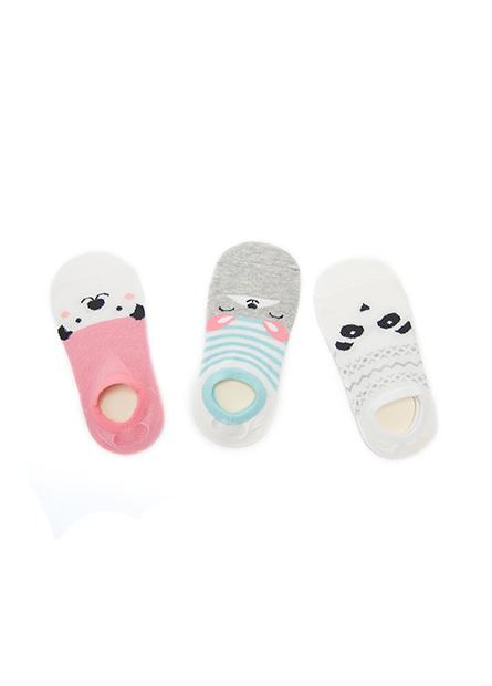 童動物堤花隱形襪(三入)