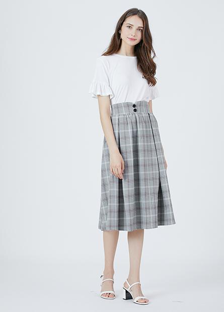 格紋吊帶中長裙