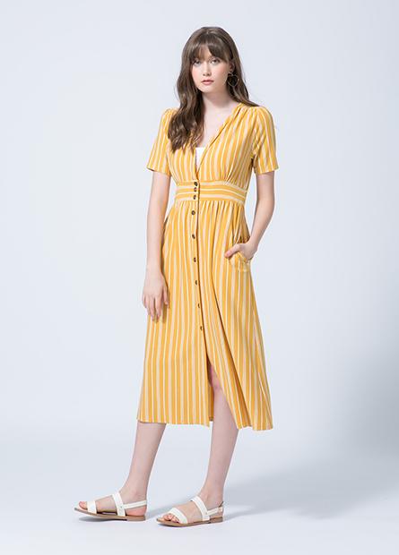 V領腰剪接洋裝