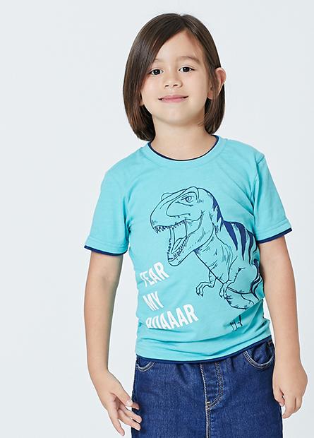 男童雙層領恐龍字母T