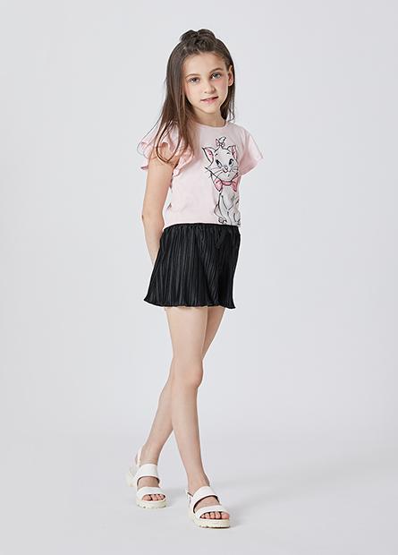 女童瑪莉貓荷葉袖T