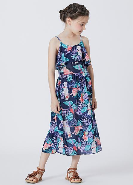 女童細肩帶長洋裝