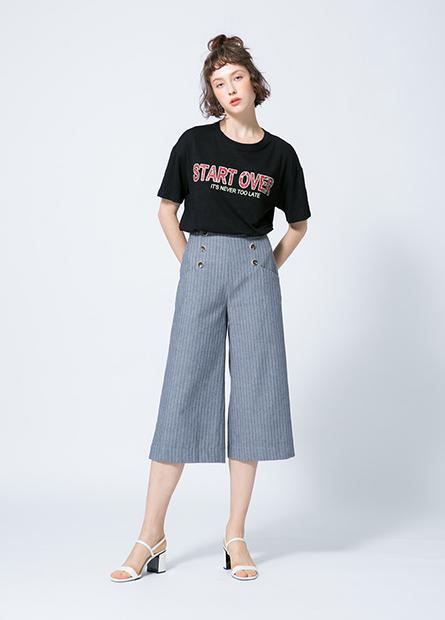 前排釦寬長褲