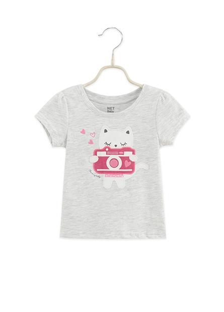 女嬰貓咪愛拍照T