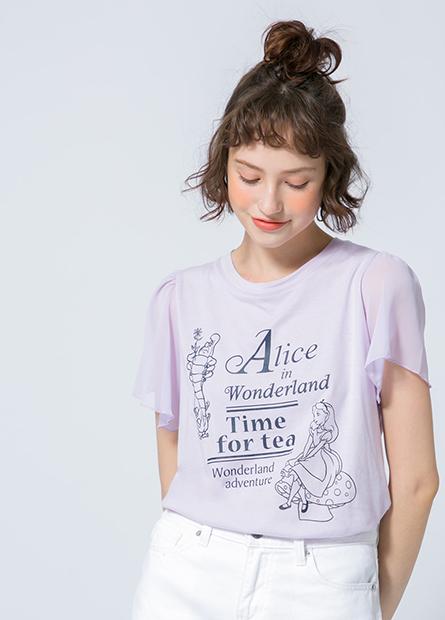 愛麗絲雪紡荷葉袖T