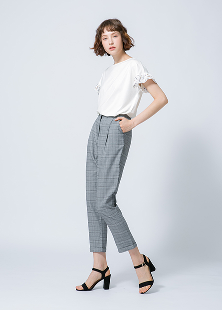格紋反摺錐形長褲