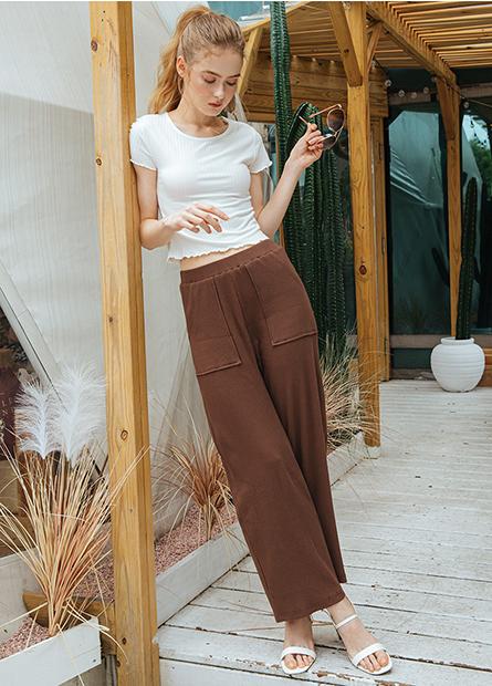 素色大口袋寬長褲