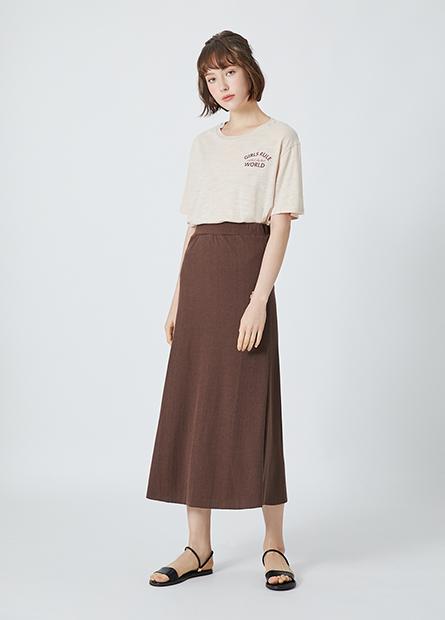 素色針織長裙