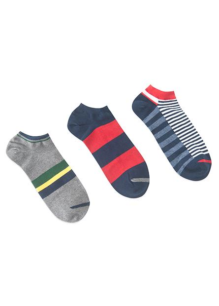 男提花踝襪(三入)