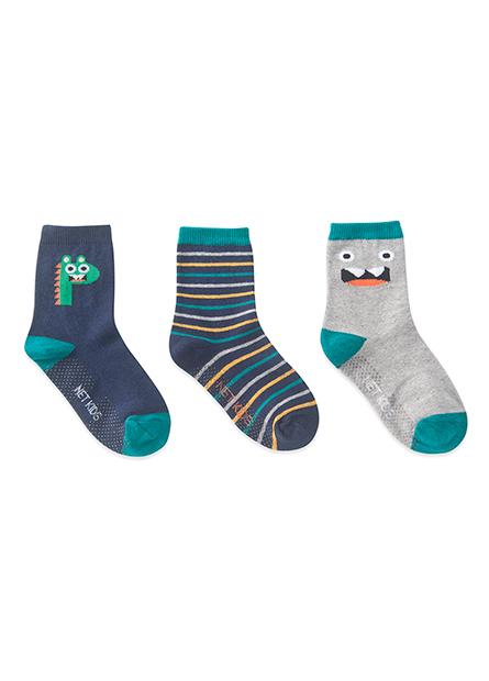 男童提花短襪(三入)