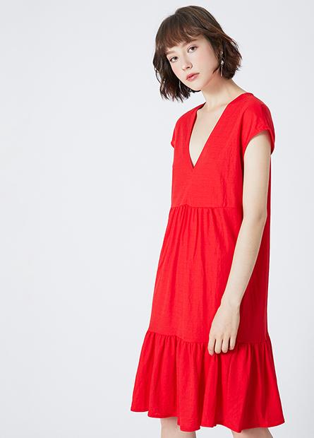 V領下襬荷葉洋裝