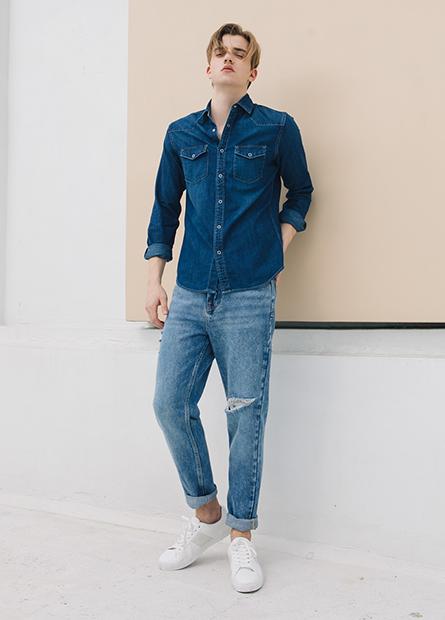 寬鬆型牛仔長褲