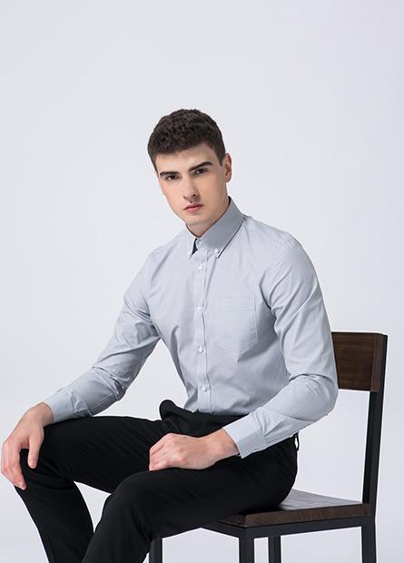 修身鈕釦領防皺襯衫