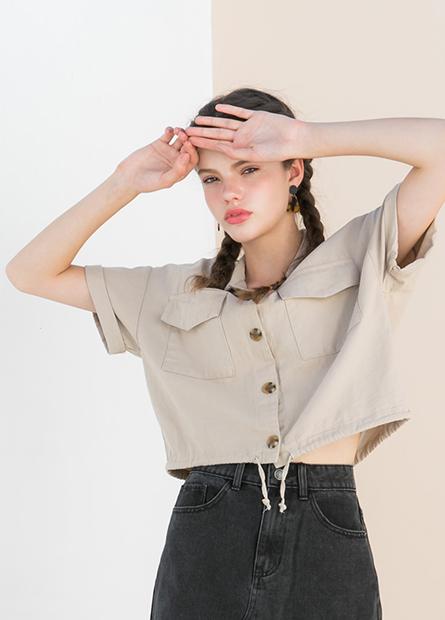 國民領短袖襯衫