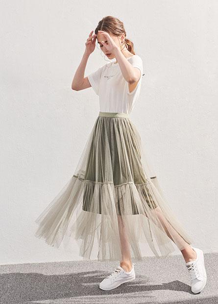 網紗針織長裙
