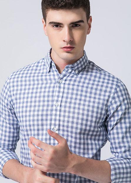 Slim修身鈕釦領長袖襯衫