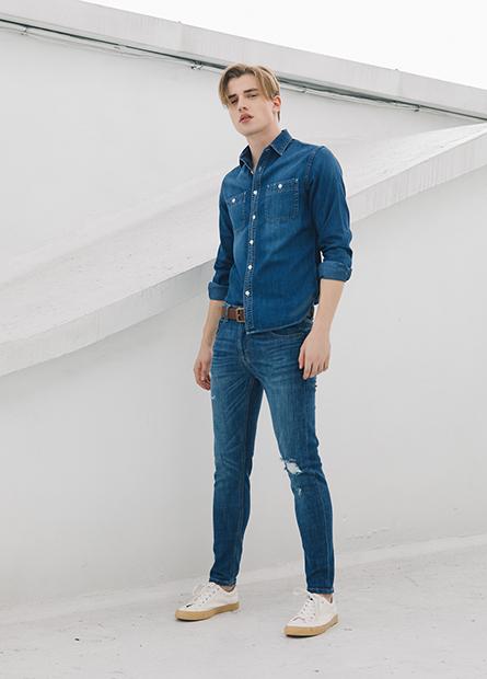 Slim修身雙口袋牛仔襯衫