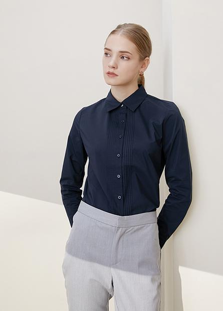 壓褶商務長袖襯衫