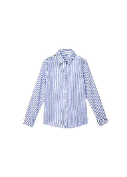 休閒捲釦長袖襯衫