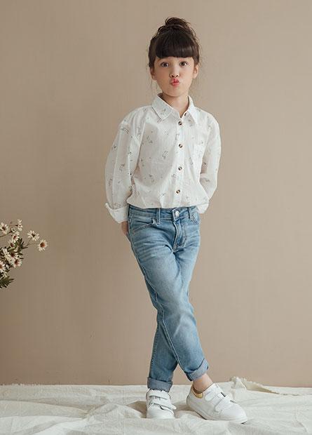 女童緊身窄管牛仔褲
