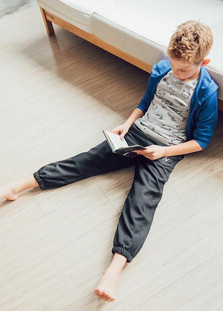 男童雙層束口運動長褲