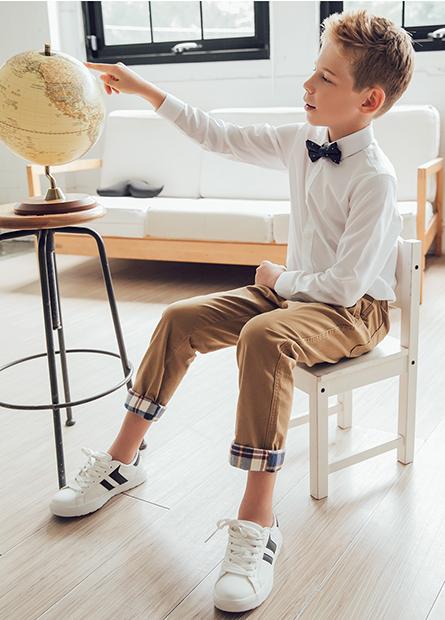 男童鬆緊帶反摺長褲