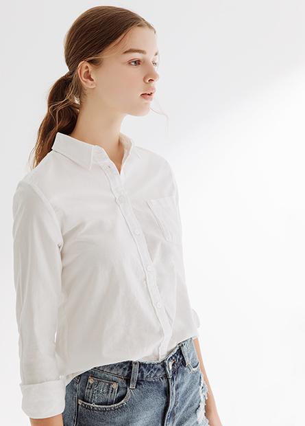 單口袋休閒襯衫